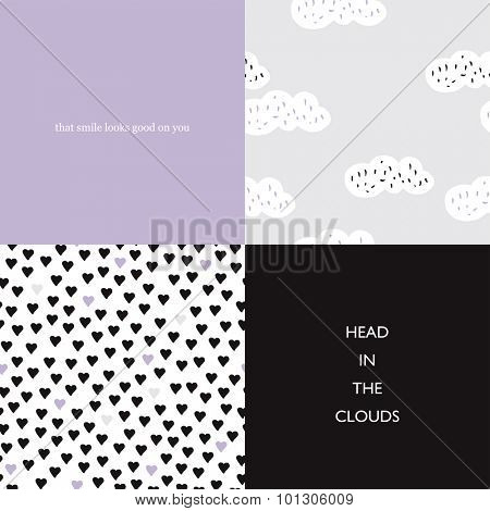 Seamless head in the clouds love and hearts seamless background pattern set and typography text postcard cover design in vector