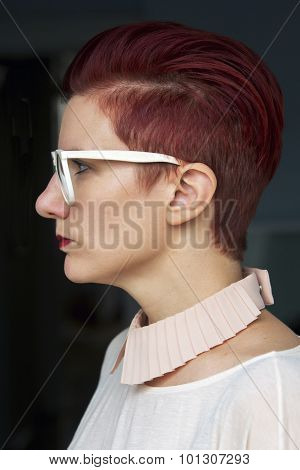 Side Profile Of A Red-haired Woman