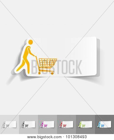 realistic design element. man with trolley