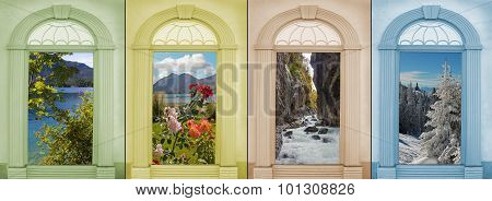 Background Design Four Seasons With Beautiful Mountain Landscapes