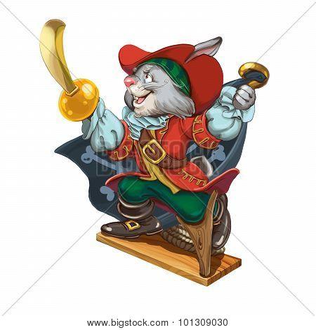 Cartoon Hare Pirate Calls To Adventures.