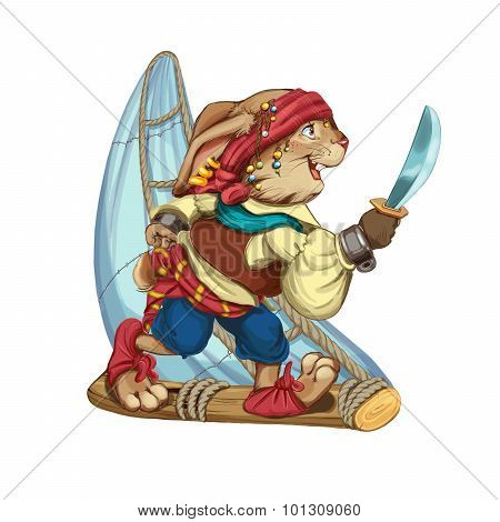 Cartoon Hare Pirate Floats On A Sailing Vessel From A Log.