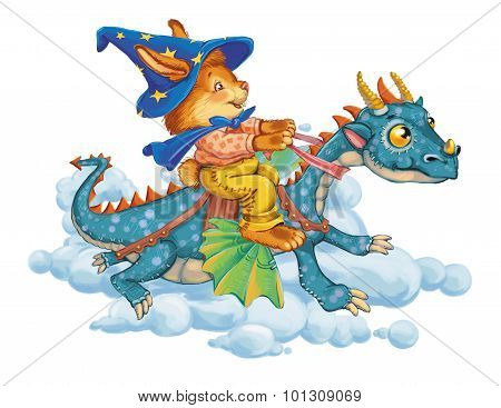 Cartoon Hare Astride A Dragon Rush In Clouds.