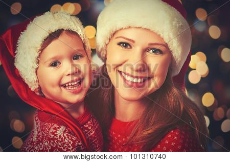 Happy Family Mother And Little Child Playing In Christmas