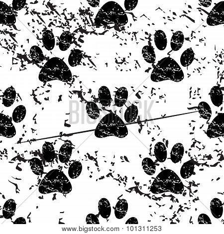 Animal paw pattern grunge, monochrome