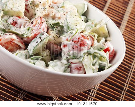 Salad With Shrimps And Mayonnaise