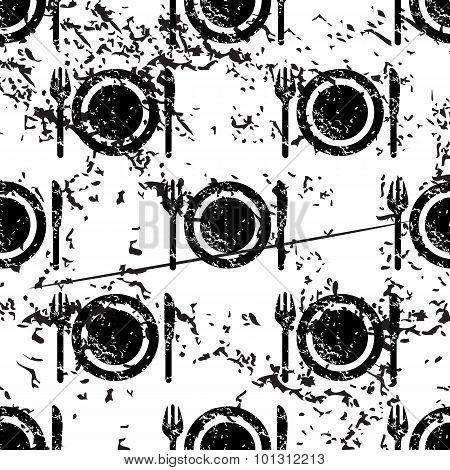 Dishware pattern grunge, monochrome