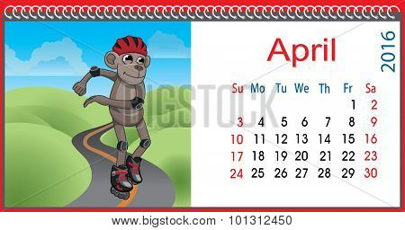 Horizontal Calendar With A Monkey In April