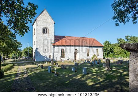 Medieval countryside church in Sweden