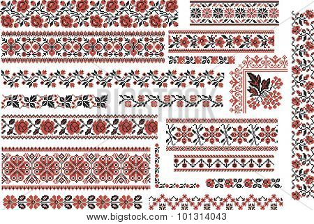 Set of editable ethnic patterns for embroidery stitch in red and black. Floral motives.
