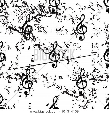 Treble clef pattern, grunge, monochrome