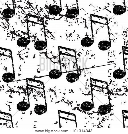Sixteenth note pattern, grunge, monochrome