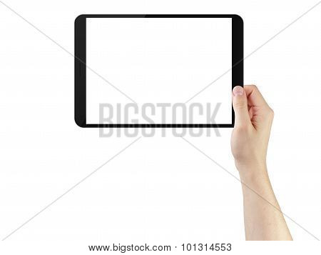 young man hands using tablet pc with blank screen