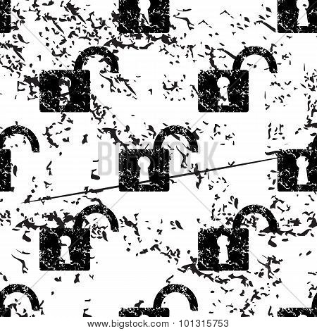 Open padlock pattern, grunge, monochrome