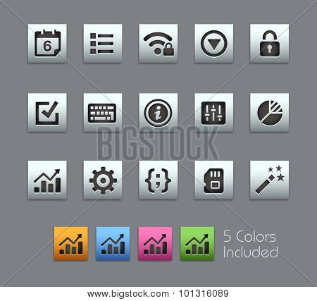 System Settings Interface The vector file includes 5 color versions for each icon in different layers ----