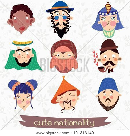 Nine Nationalities: African, Jew,muslim, Englishman, Korean And Other Cute Characteristic Faces