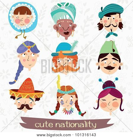 Nine Nationalities: Eskimo, African, French,mexican, German And Other. Cute Characteristic Faces.