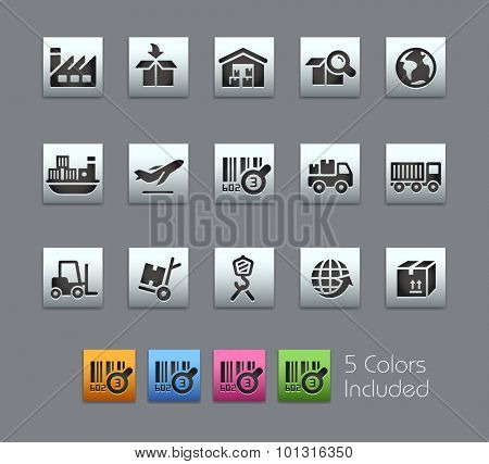 Industry and Logistics Icons  The vector file includes 5 color versions for each icon in different layers ----