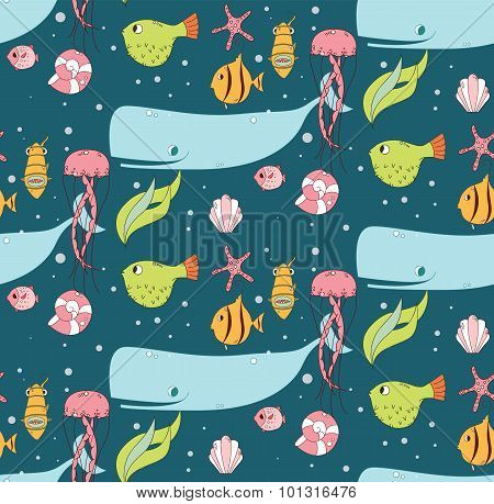 Seamless Pattern With Underwater Scene, Fish, Whale, Jelly Fish