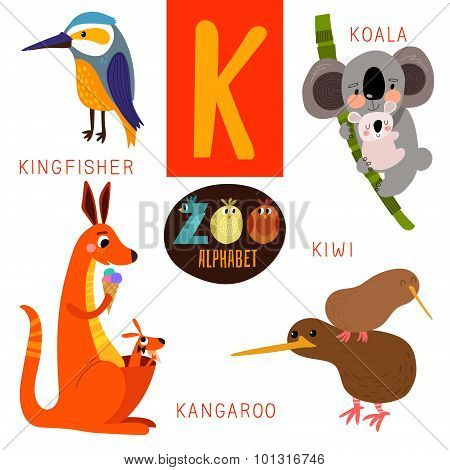 Cute Zoo Alphabet In Vector.k Letter. Funny Cartoon Animals:kingfisher,koala,kangaroo,kiwi. Alphabet