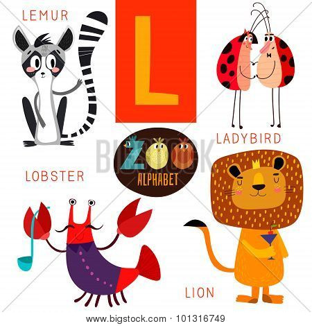 Cute Zoo Alphabet In Vector.l Letter. Funny Cartoon Animals:lemur,ladybird,lobster,lion. Alphabet De