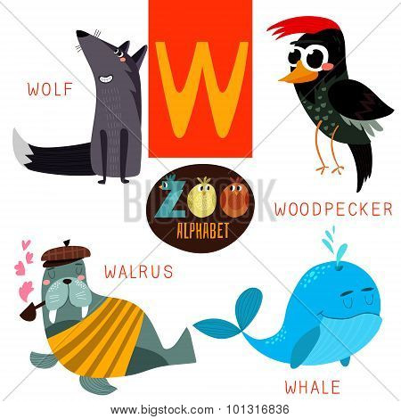 Cute Zoo Alphabet In Vector.w Letter. Funny Cartoon Animals:wolf,woodpacker,walrus,whale. Alphabet D