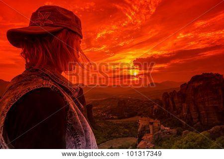 Looking Monastery Meteora
