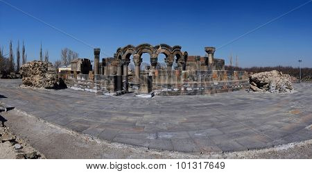 Panorama Of Ancient  Zvartnots (celestial Angels) Temple Ruins ,armenia,central Asia,unesco Heritage
