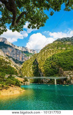 National park Merkantur, France. Big bridge over river Verdon in Provence