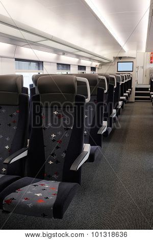 Interior of a train passenger coach