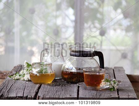 Still-life With Tea, Milk And Honey