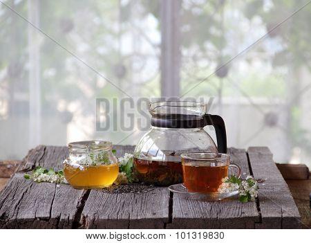 Still-life With Tea And Honey