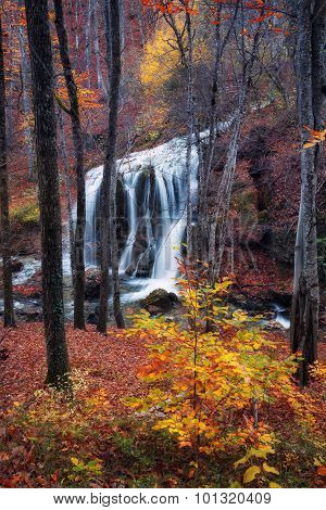 Beautiful waterfall in autumn forest in crimean mountains at sunset. Silver Stream Waterfall