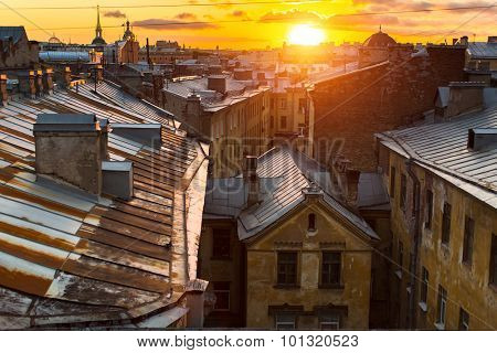 View over the rooftops of the historic center of St. Petersburg, Russia during an amazing sunset.