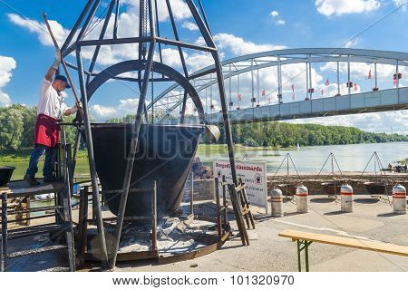 Giant Kettle In The Fish Soup Festival In Szeged
