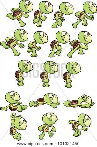 Cartoon turtle sprites ready for animation. Vector clip art illustration with simple gradients. Each element on a separate layer.
