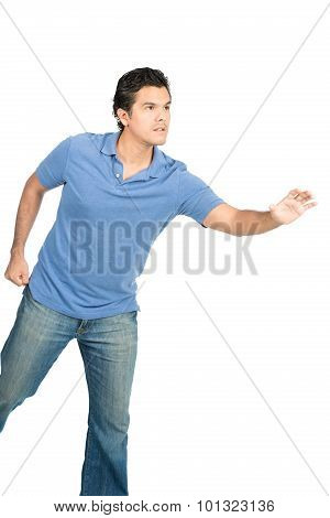 Hispanic Male Reaching Open Hand Object Offscreen