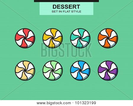 Set of 8 isolated multi-colored candies in flat style