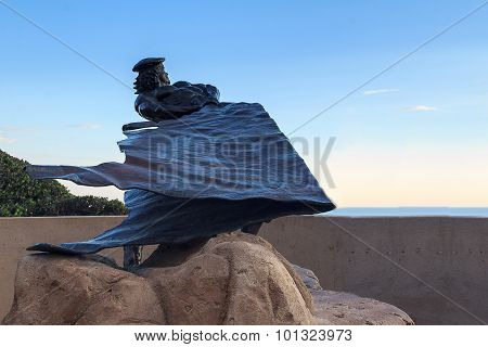 Dana Point bronze of a hide Drogher statue