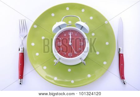 Mealtime Table Place Setting With Alarm Clock