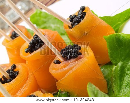 Salmon Rolls With Caviar