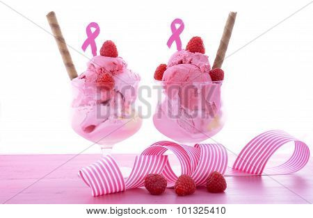 Pink Ribbon Charity For Womens Health Awareness Ice Cream Sundaes.