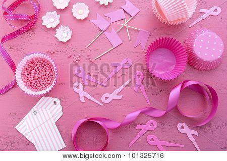 Pink Ribbon Charity Event Cupcake Preparation