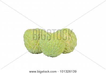 Isolated Shot Of Three Sugar Apple Sitting Together On Whit Background