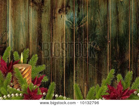 Card For The Holiday With Branches And Flower On The Wooden  Background