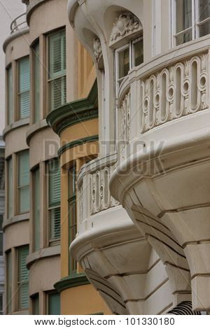 Victorian Architecture On Buildings In San Francisco's Nob Hill Area