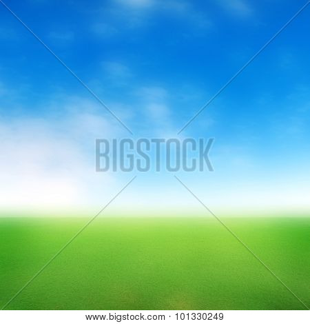blurred meadow with blue sky