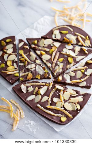 Almonds, orange peel and salt chocolate bark