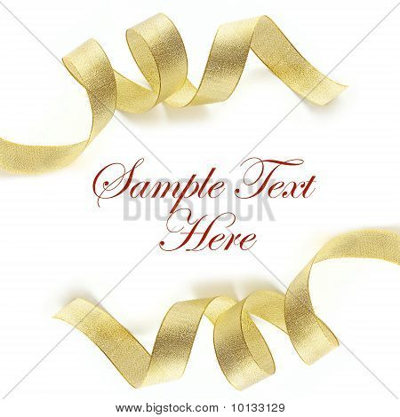 Shiny Gold Satin Ribbon On White Background With Copy Space