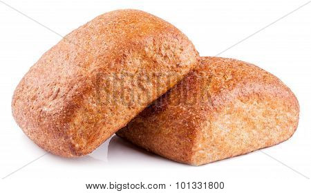 wholemeal roll bread on white background